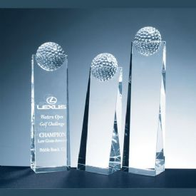 Golf Ball Tower Crystal Award