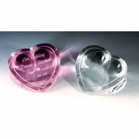 Pink Crystal Heart Paperweight