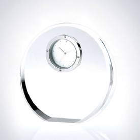 Beveled Circle Crystal Clock Award